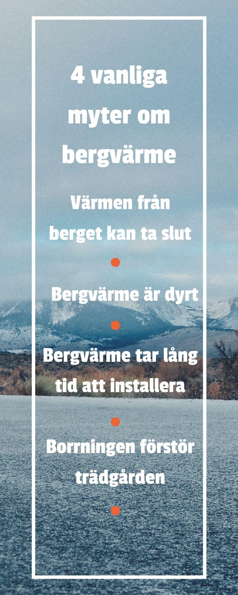 Infografik som sammanfattar 4 myter om bergvärme.
