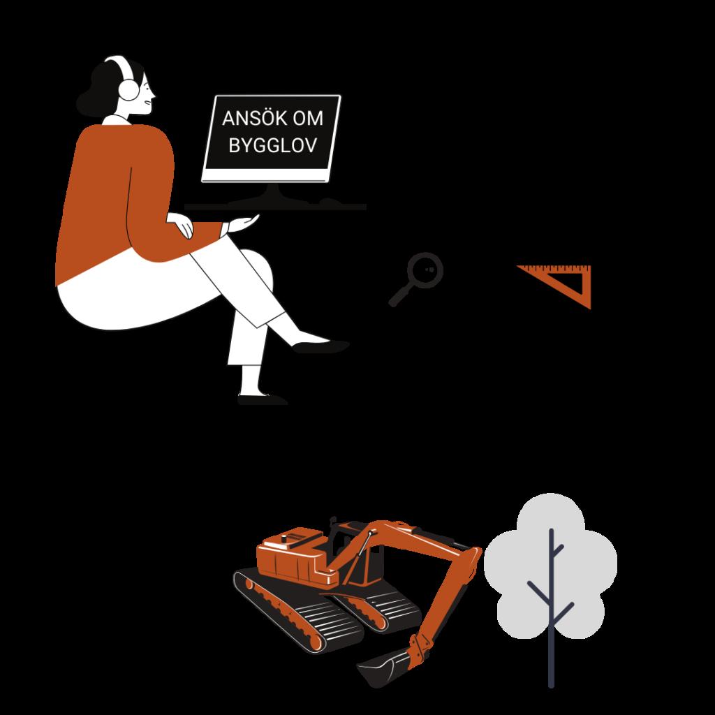 Kvinna ansöker om bygglov via dator