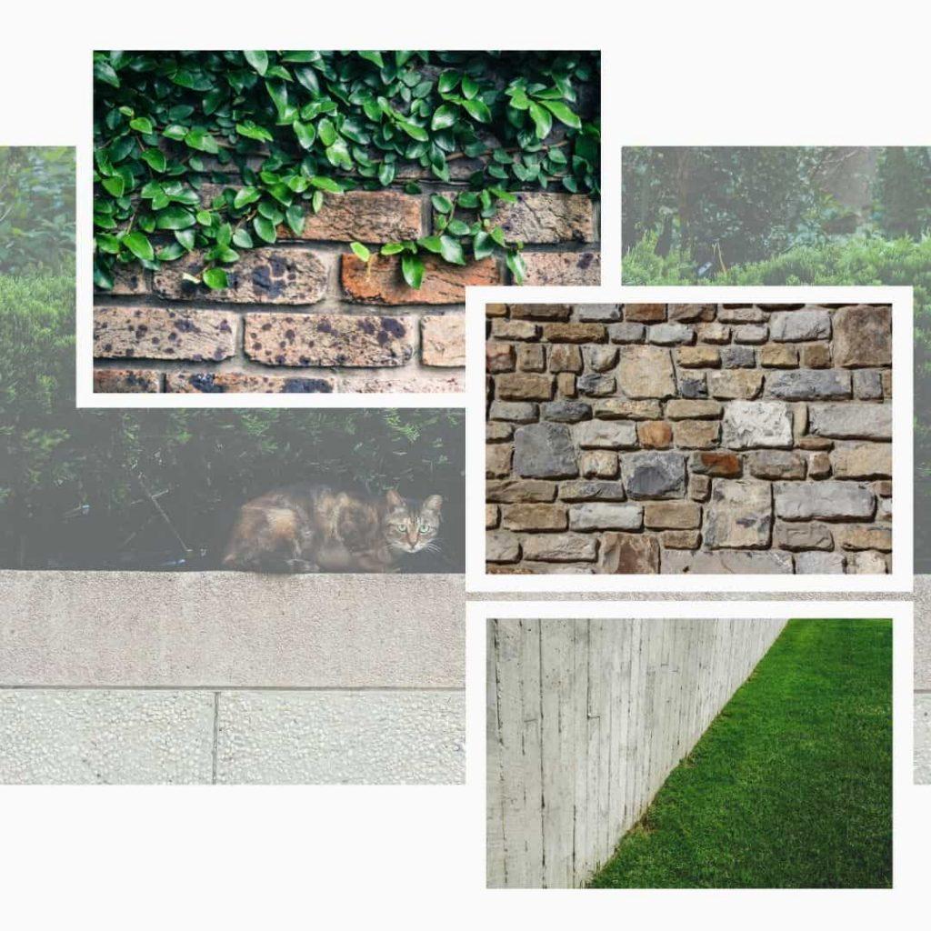 Stödmurar och trädgårdsmurar i sten.