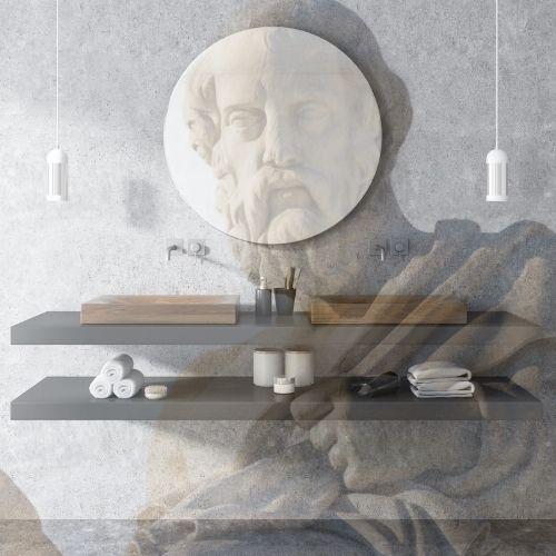 grekiskt staty och badrum