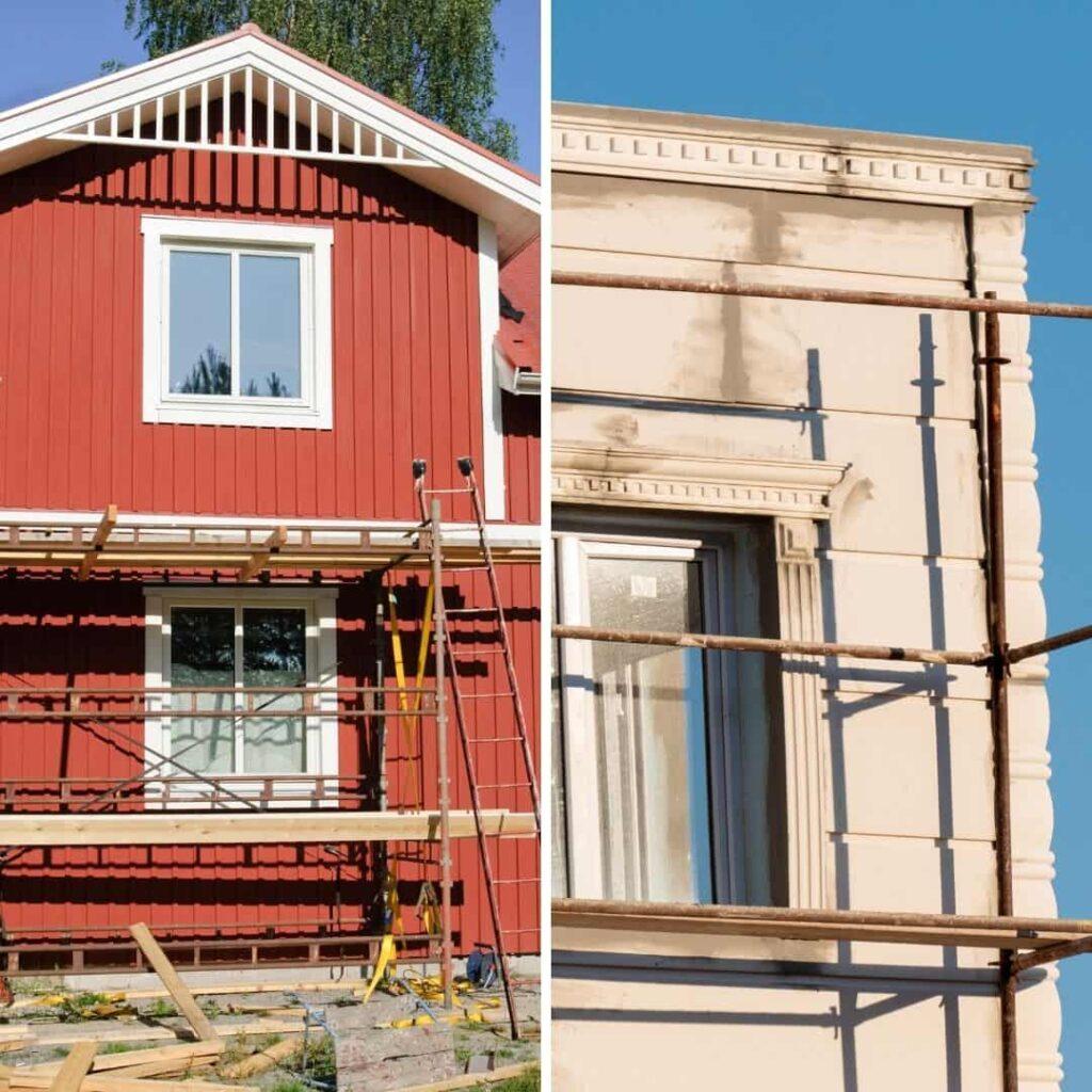 En träfasad och en putsad fasad som håller på att renoveras