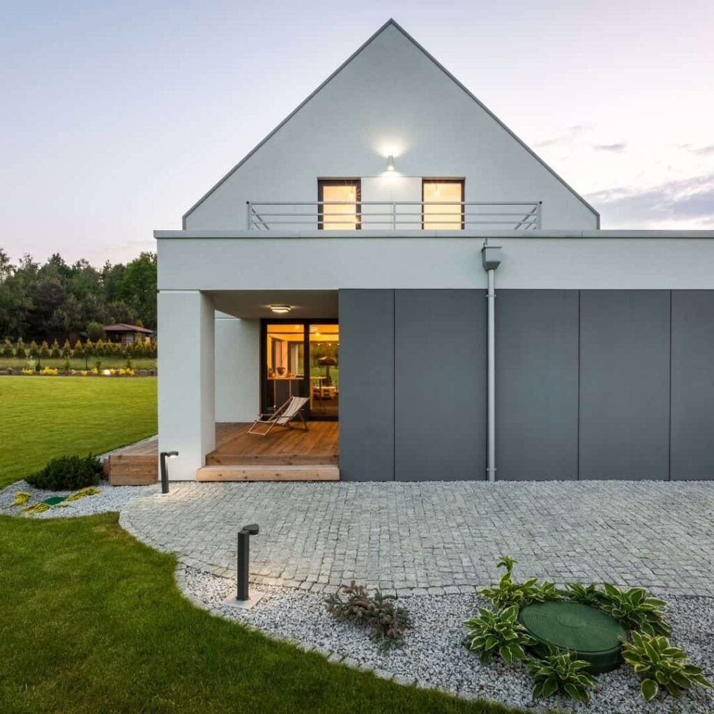modernt hus med betongfasad