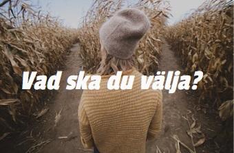 Kvinna står på ett fält som delar sig i två delar. Vad ska du välja, står det på bilden.