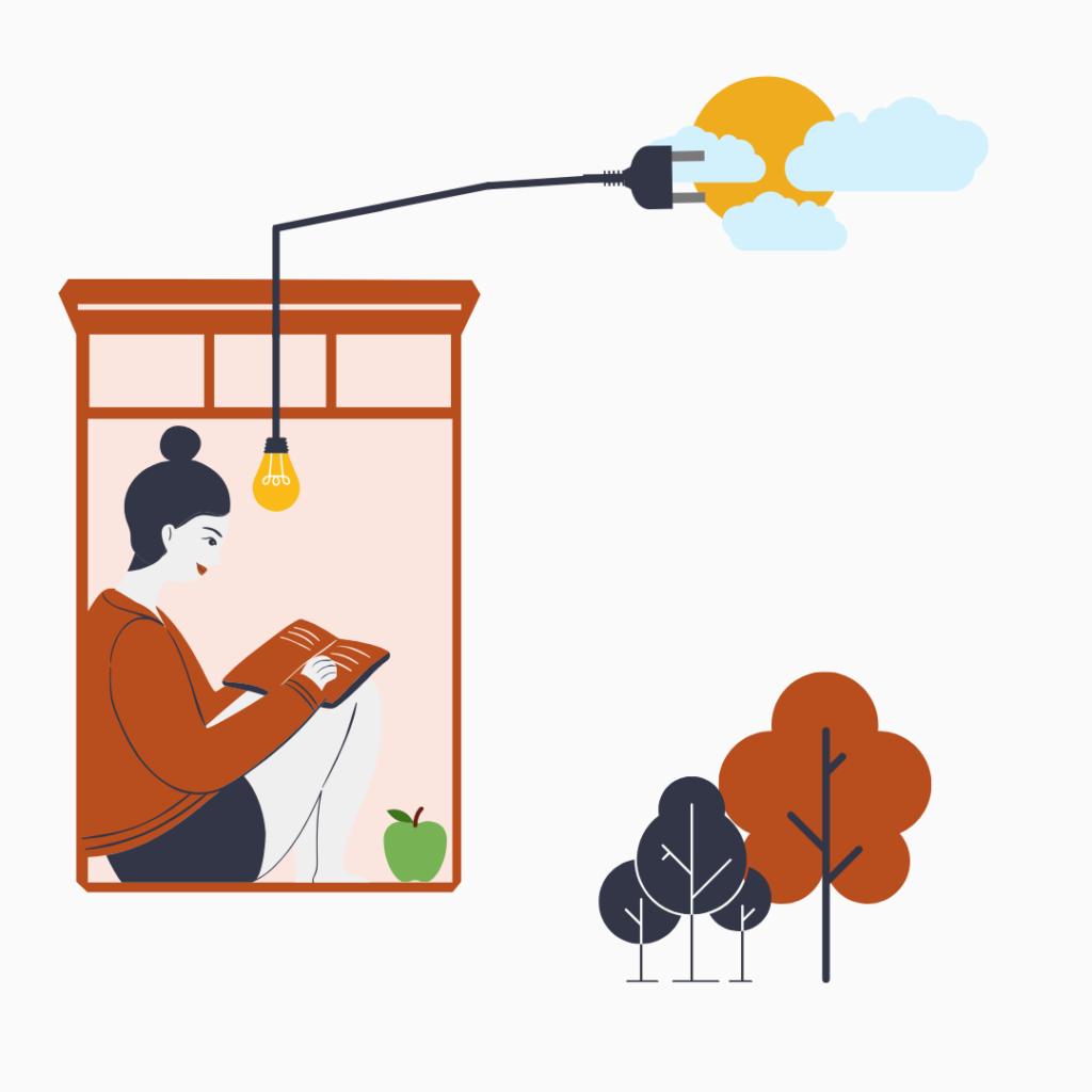 Tjej använder solenergi för att få elektricitet till läslampan.