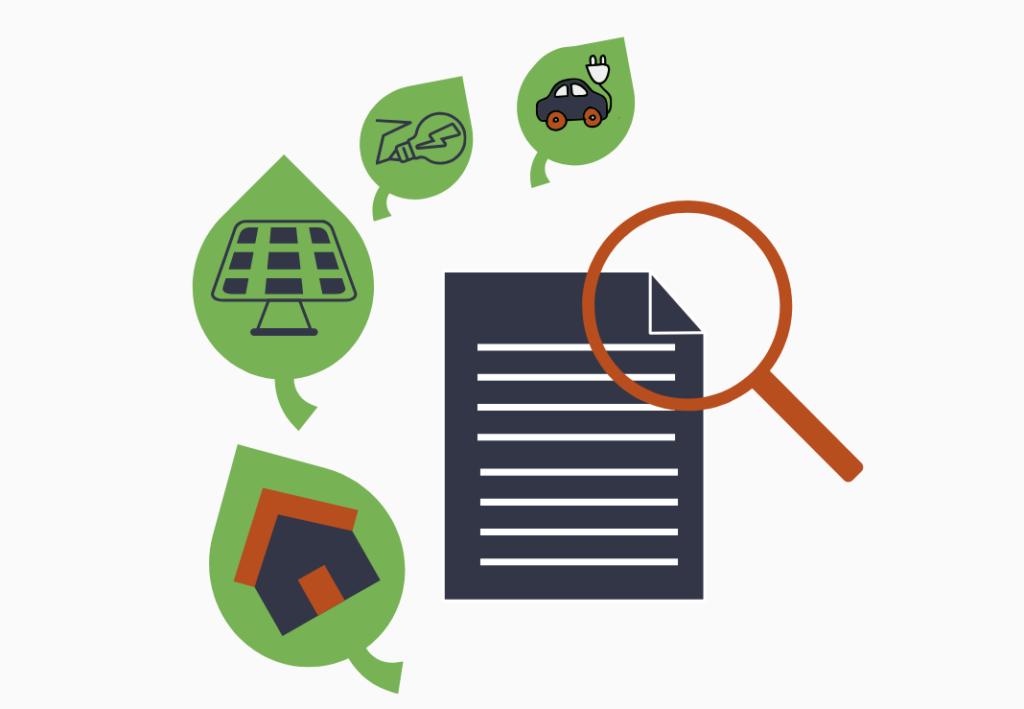 Illustration som visar företag som begär grönt stöd
