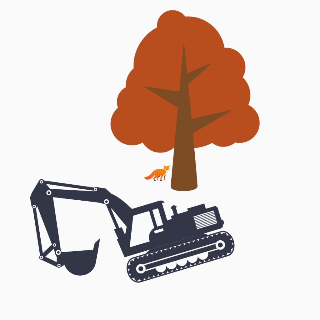 En grävmaskin, en räv och ett träd