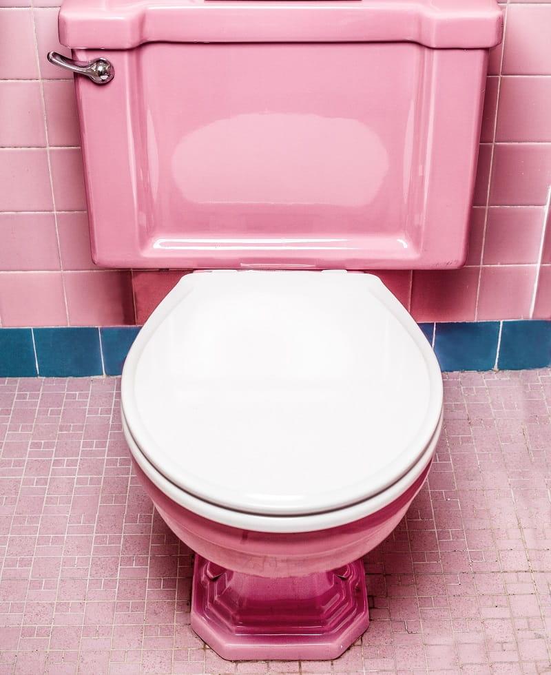 En rosa toalettstol.