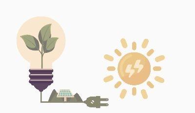 Tecknad bild på sol, elsladd, solceller på mark och glödlampa